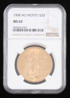 1908 $20 Saint-Gaudens Double Eagle Gold Coin - No Motto (NGC MS 62) at PristineAuction.com