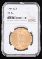 1924 $20 Saint-Gaudens Double Eagle Gold Coin (NGC MS 62) at PristineAuction.com