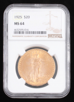 1925 $20 Saint-Gaudens Double Eagle Gold Coin (NGC MS 64) at PristineAuction.com