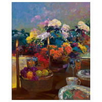 """Ming Feng Signed """"Candlelight Dinner"""" Limited Edition 24x30 Giclee on Canvas at PristineAuction.com"""