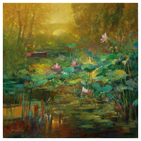 """Ming Feng Signed """"Golden Lily Pads"""" Hand Embellished Limited Edition 30x30 Giclee on Canvas at PristineAuction.com"""