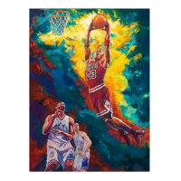 "Turchinsky Dimitry Signed ""Michael Jordan Dunks"" 30x24 Mixed Media on Canvas at PristineAuction.com"
