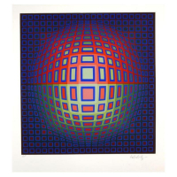 "Victor Vasarely Signed ""Blue Composition"" Limited Edition 18x18 Serigraph at PristineAuction.com"