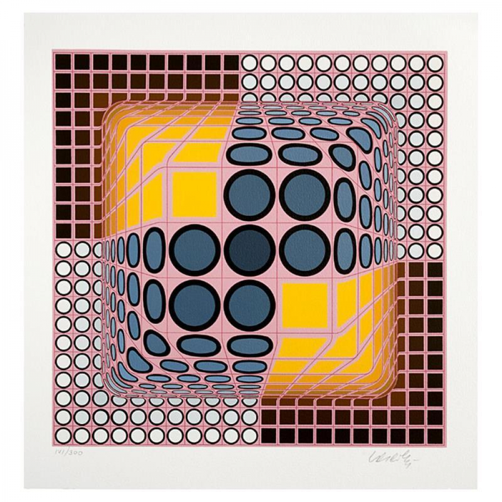 """Victor Vasarely Signed """"Pink Composition"""" Limited Edition 16x16 Serigraph at PristineAuction.com"""