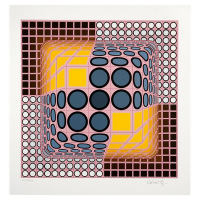 "Victor Vasarely Signed ""Pink Composition"" Limited Edition 16x16 Serigraph at PristineAuction.com"