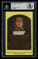 Cy Young Signed Gold Hall of Fame Plaque Postcard Cut (PSA Encapsulated) at PristineAuction.com