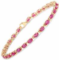 Ruby Glass Filled Oval 5x3m .925 Sterling Silver Bracelet at PristineAuction.com