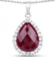 Ruby Dyed Pear & Topaz White Necklace at PristineAuction.com