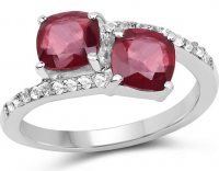Ruby Glass Filled Cushion & Topaz White Round Ring at PristineAuction.com