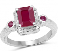 Ruby Glass Filled Rounds Ring at PristineAuction.com