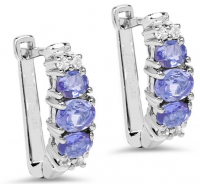 Tanzanite Oval & White Topaz Sterling Silver Earrings at PristineAuction.com