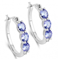 Diamond & Tanzanite Oval Sterling Silver Earrings at PristineAuction.com