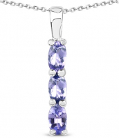 Tanzanite Oval .925 Sterling Silver Pendant at PristineAuction.com
