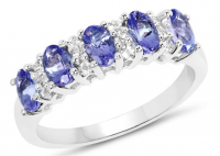 Tanzanite & White Topaz .925 Sterling Silver Ring at PristineAuction.com