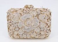 Swarovski Crystal Element Gold Lined Handbag at PristineAuction.com