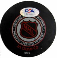 Maurice Richard Signed Stanley Cup 100th Anniversary Logo Hockey Puck (PSA COA) at PristineAuction.com