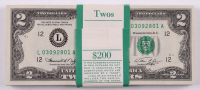 Lot of (100) 1976 $2 Two-Dollar Federal Reserve Notes with Consecutive Serial Numbers at PristineAuction.com