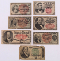 Denominational Set of (7) 1869-1876 U.S. Fractional Currency Bank Notes with (2) 10¢ (Fourth & Fifth Issue), 15¢ (Fourth Issue), (2) 25¢ (Fourth & Fifth Issue), & (2) 50¢ (Fourth & Fifth Issue) at PristineAuction.com