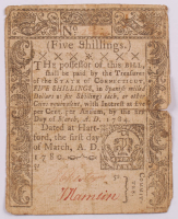 1780 5s. Five Shillings - Connecticut - Colonial Currency Note at PristineAuction.com