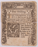 1776 1s. One Shilling - Connecticut - Colonial Currency Note at PristineAuction.com
