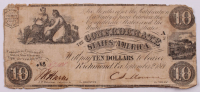 1861 $10 Ten-Dollar Confederate States of America Richmond CSA Bank Note at PristineAuction.com