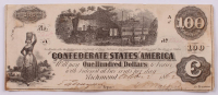 1862 $100 One-Hundred Dollar Confederate States of America Richmond CSA Bank Note at PristineAuction.com