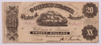 1861 $20 Twenty-Dollar Confederate States of America Richmond CSA Bank Note at PristineAuction.com