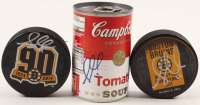 Lot of (3) Gregory Campbell Signed Items with Campbell's Tomato Soup Can & (2) Bruins Logo Hockey Pucks (Campbell COA) at PristineAuction.com