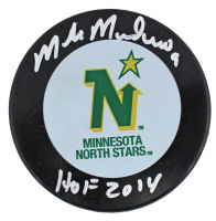 "Mike Modano Signed North Stars Logo Hockey Puck Inscribed ""HOF 2014"" (Beckett COA) at PristineAuction.com"