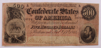 1864 $500 Five-Hundred Dollar Confederate States of America Richmond CSA Bank Note at PristineAuction.com