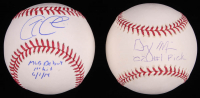 """Lot of (2) Signed OML Baseballs with Garin Cecchini & Greg Miller Inscribed """"MLB Debut 1st Hit 6/1/14"""" & """"'02 #1 Pick"""" (SidsGraphs COA) at PristineAuction.com"""