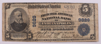 1902 $5 Five-Dollar U.S. National Currency Large-Size Bank Note - The Fletcher American National Bank of Indianapolis, Indiana at PristineAuction.com