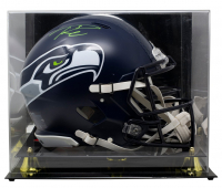 Russell Wilson Signed Seahawks Full-Size Speed Helmet with Display Case (Wilson COA) at PristineAuction.com