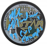 """Mike Modano Signed 1999 Stars Stanley Cup Champions Logo Hockey Puck Inscribed """"99 Cup Champs"""" (Beckett COA) at PristineAuction.com"""