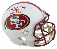 "Jerry Rice Signed 49ers Full-Size Authentic On-Field Matte White Speed Helmet Inscribed ""HOF 2010"" (Beckett COA) at PristineAuction.com"