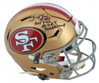 "Jerry Rice Signed 49ers Full-Size Authentic On-Field SpeedFlex Helmet Inscribed ""HOF 2010"", ""G.O.A.T"" & ""3x SB Champ"" (Beckett COA) at PristineAuction.com"