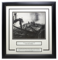 """Marines in Frontal Assault"" 17x18 Custom Framed World War II Photo Display at PristineAuction.com"