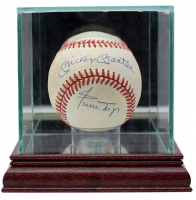 Mickey Mantle & Willie Mays Signed OAL Baseball with High-Quality Display Case (PSA LOA) at PristineAuction.com