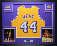 Jerry West Signed 35x43 Custom Framed Jersey (JSA COA) at PristineAuction.com
