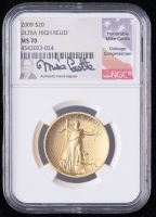 2009 1oz Gold MMIX Ultra High Relief $20 Double Eagle Gold Coin - Mike Castle Signed Label (NGC MS70) at PristineAuction.com