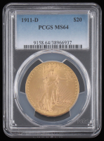 1911-D $20 Saint-Gaudens Double Eagle Gold Coin (PCGS MS64) at PristineAuction.com