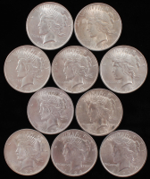 Lot of (10) Peace Silver Dollars at PristineAuction.com