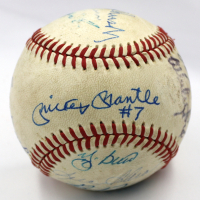 "MLB Hall of Famers & Stars OAL Baseball Signed by (10) with Mickey Mantle, Yogi Berra, Bob Feller, Brooks Robinson Inscribed ""#7"" (PSA LOA) at PristineAuction.com"