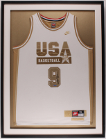 Michael Jordan 31x41 Custom Framed Team USA Jersey Display (JSA ALOA & UDA Hologram) at PristineAuction.com