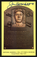 Joe DiMaggio Signed Gold Hall of Fame Plaque Postcard (Beckett LOA) at PristineAuction.com