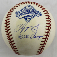 "Chipper Jones Signed 1995 World Series Baseball Inscribed ""95 WS Champs"" (Beckett COA) at PristineAuction.com"