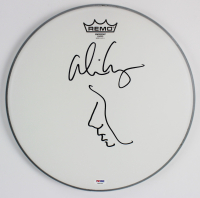Alice Cooper Signed Drumhead with Original Self-Portrait Sketch (PSA COA) at PristineAuction.com
