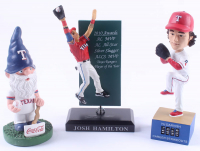 Lot of (3) Rangers Baseball Figures With Josh Hamilton, Yu Darvish & Rangers Gnome at PristineAuction.com
