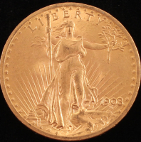 1908 $20 Saint-Gaudens Double Eagle Gold Coin at PristineAuction.com