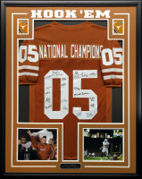 2005 National Championship 34.5x42.5 Custom Framed Jersey Team-Signed by (20) with Mack Brown, Vince Young, Brian Orakpo, Jordan Shipley (JSA COA) at PristineAuction.com